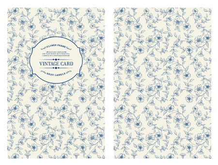 lable: Lable card with flower pattern on white background. Floral theme for book cover. Flower texture illustration in style of engraving. Vector illustration.