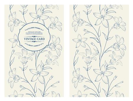 floral decoration: Crocus spring flowers texture for your card design. Floral card with blue crocus pattern on gray background.  Vector illustration.