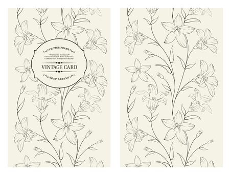 Crocus spring flowers texture for your card design. Floral card with black crocus pattern on gray background.  Vector illustration. Illustration