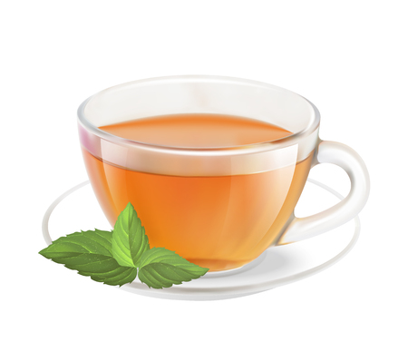 Tea cup isolated over white background. Vector illustration.