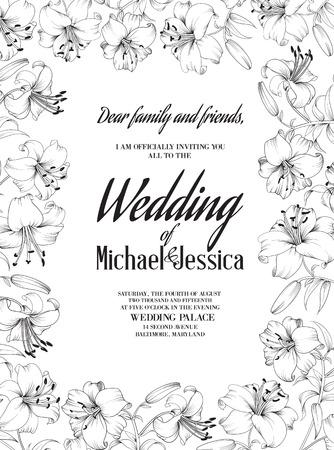 백합 꽃 웨딩 카드입니다. 화이트 릴리 피와 그들에 텍스트 결혼식 초대장 초대 카드 템플릿입니다. 벡터 일러스트 레이 션.