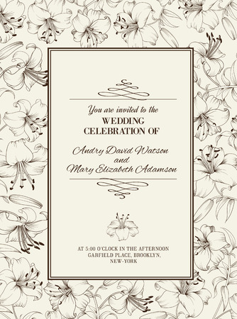 Wedding card with lily flowers. Invitation card template with white blooming lily and text Wedding Celebration over them. Vector illustration.