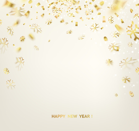 confetti white: Happy new year card template over gray background with golden sparks. Happy new year 2016. Holiday card. Template for your design. Vector illustration.