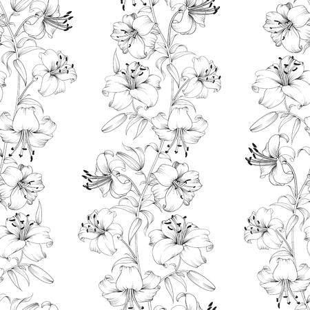 꽃 백합 원활한 배경입니다. 빈티지 스타일의 꽃 배경입니다. 백합 꽃 패턴입니다. 아름 다운 흰 꽃. 벡터 일러스트 레이 션. 일러스트