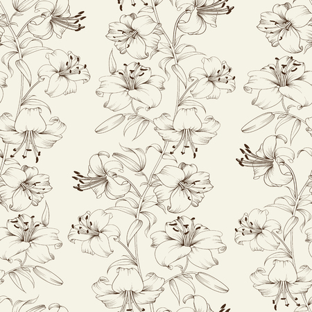 Flower lily seamless background. Floral background in vintage style. Lily flower pattern. Beautiful white flowers. Vector illustration. Illustration
