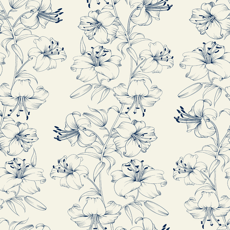 lily: Flower lily seamless background. Floral background in vintage style. Lily flower pattern. Beautiful white flowers. Vector illustration. Illustration