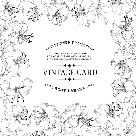 lillies: Vintage invitation card with white flowers. Card template with text and flower garland. Vector illustration.