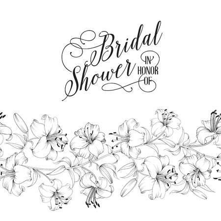 Wedding invitation card with white flowers. Vintage bridal shower card template with text and flower garland. Vector illustration.