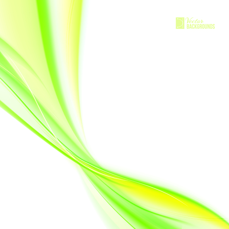 transparencies: Glowing dynamic green wave on white background. Vector illustration, contains transparencies, gradients and effects. Illustration