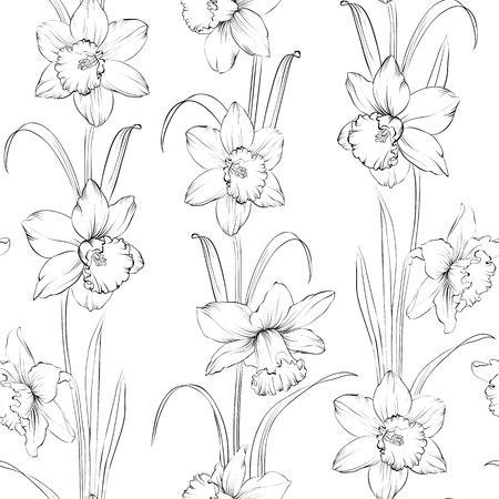 gray matter: Spring flowers fabric seamless pattern. Vector illustration. Illustration