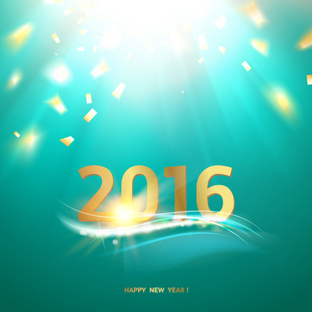 wallpaper image: Happy new year card. Bright template over green background with golden sparks. Happy new year 2016. Green underwater abstraction. Fallen sparks and sun rays in the sea. Vector illustration