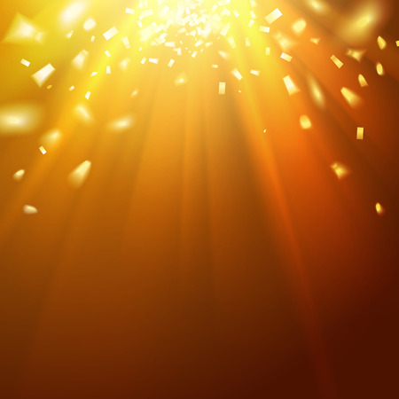 Golden underwater abstraction. Fallen sparks and sun rays in the gold sea. Vector illustration