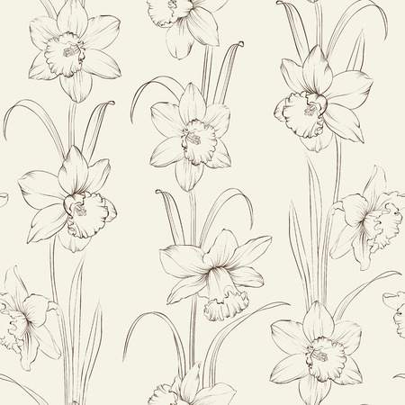 Spring flowers fabric seamless pattern on gray background. Vector illustration.