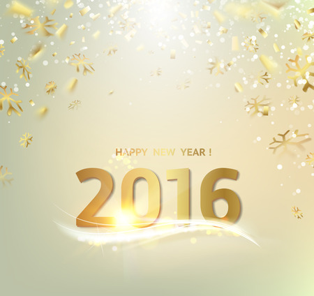 fonts year: Happy new year card. Gold template over gray background with golden sparks. Happy new year 2016. Gray underwater abstraction. Fallen sparks and sun rays in the gray area. Vector illustration.