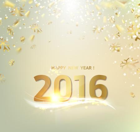 nowy rok: Szczęśliwego nowego roku karty. Złota szablon na szarym tle ze złotymi iskrami. Szczęśliwego nowego roku 2016. Szary podwodne abstrakcją. Upadły iskry i promienie słońca w szarej strefie. ilustracji wektorowych.