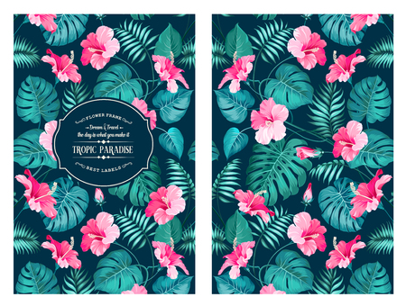 green floral: Tropical flower pattern on the book cover design. Blossom flowers for nature background. Vector illustration.