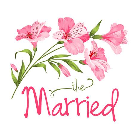 flor de lis: La tarjeta casada. Plantilla de la tarjeta de boda. Alstromeria rosa rama aislado en blanco. Tarjeta de invitación de boda con flores de color rosa. Ilustración del vector.