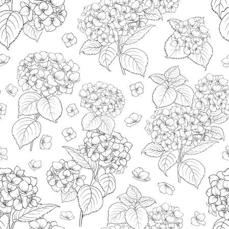 Bloem patroon van hortensia bloemen. Naadloze textuur op een witte achtergrond voor uw ontwerp. vector illustratie