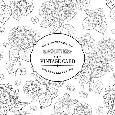 floral decoration: Vintage label card. Invitation card template for your holiday.