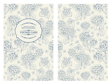 flores de cumplea�os: Tarjeta de la etiqueta de la vendimia. Plantilla de tarjeta de invitaci�n para sus vacaciones.