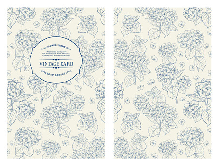 blue flowers: Vintage label card. Invitation card template for your holiday.