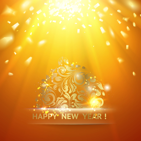 new ball: Christmas ball with curves of ribbon confetti. Golden confetti falls on the orange background. Happy new year 2016. Holiday card. Template for your design. Vector illustration.