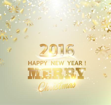 muerdago navideÃ?  Ã? Ã?±o: Nueva tarjeta de feliz año. Plantilla de oro sobre fondo gris con chispas doradas. Nuevo año 2016. Gray abstracción feliz subacuática. Chispas y rayos del sol en la zona gris Caídos. Ilustración del vector.
