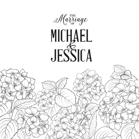 blossom background: Marriage invitation card with custom text. Floral garland of hydrangea on white background. Flower head of blossom flower. Vector illustration. Illustration