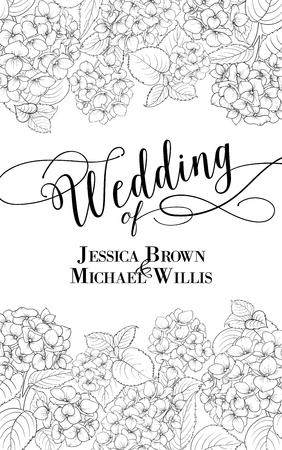 nozze: Matrimonio invito con testo personalizzato. Ghirlanda floreale di ortensia su sfondo bianco. Fiore testa di fiore in fiore. Illustrazione vettoriale.