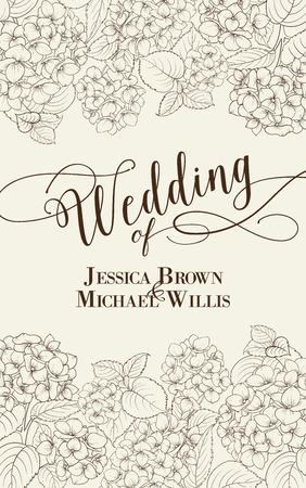 Bruiloft uitnodiging kaart met aangepaste tekst. Bloemenslinger van hortensia op een witte achtergrond. Bloem hoofd van bloesem bloem. Vector illustratie.