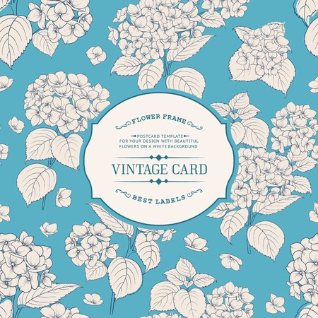floral vintage: Vintage floral label. Elegant book cover over blue background with white flowers. Vector illustration.