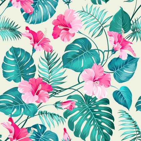 열 대 꽃의 원활한 패턴입니다. 꽃 꽃. 자연 배경입니다. 벡터 일러스트 레이 션.