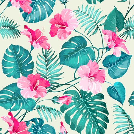 Seamless pattern of Tropical flowers. Blossom flowers. Nature background. Vector illustration. Çizim