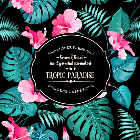 Tropical flower label with black background. Blossom flowers for the nature background. Black background. Vector illustration. Illusztráció