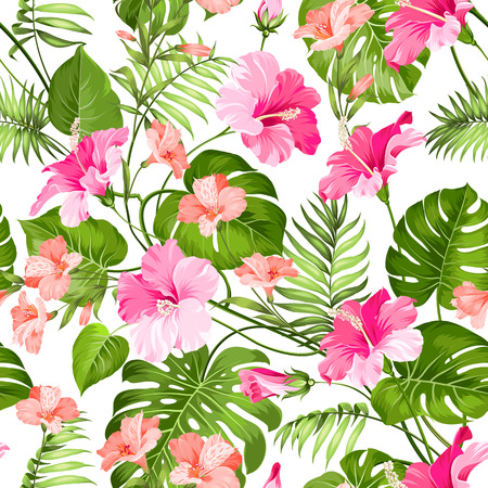 Seamless pattern of Tropical flowers. Blossom flowers. Nature background. Vector illustration. Vettoriali