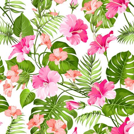 jungla: Sin fisuras patrón de flores tropicales. Flor de las flores. La naturaleza de fondo. Ilustración del vector.