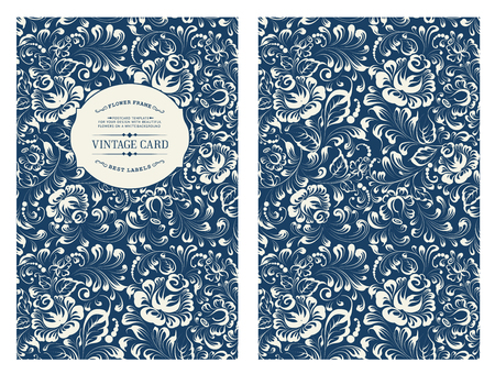 vintage document: Design for you personal cover. Rose flowers. Floral theme for book cover. Ornate of floral seamless pattern in Gzhel style. Vector illustration.