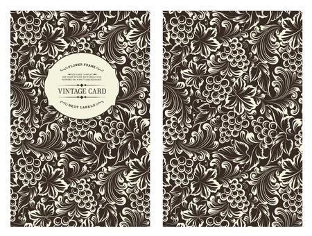 VID: Diseño para ti portada personales en color negro. Patrón de la Viña. Tema de la vid para la cubierta del libro. Vino ilustración textura en estilo de grabado. Ilustración del vector.
