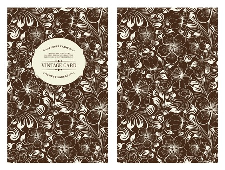 Cover design for you personal cover colored black. Spring sakura flowers. Floral theme for book cover. Flower texture illustration in style of engraving. Vector illustration. Illustration
