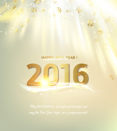 confetti white: Happy new year card over vertical background with golden sparks. Happy new year 2016. Holiday card. Template for your design. Vector illustration.