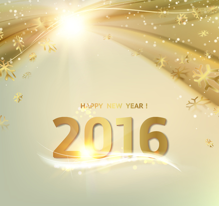 underwater: Happy new year card. Gold template over gray background with golden sparks. Happy new year 2016. Gray underwater abstraction. Fallen sparks and sun rays in the gray area. Vector illustration.