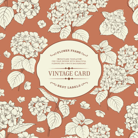 brown background: Vintage floral label. Elegant book cover over brown background with white flowers. Vector illustration.