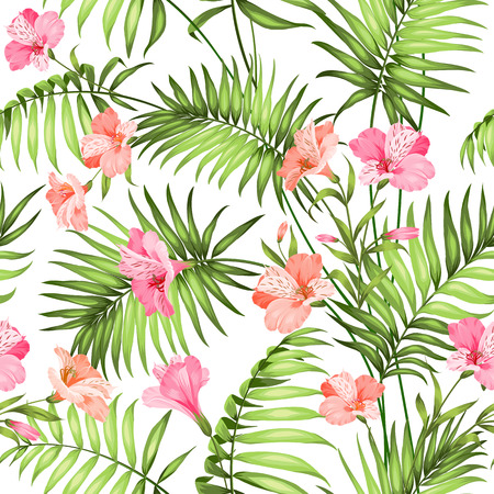 monstera leaf: Seamless tropical pattern. Blossom flowers for seamless pattern background. Beautiful tropical flowers. Tropical flower garland isolated over white background. Vector illustration.