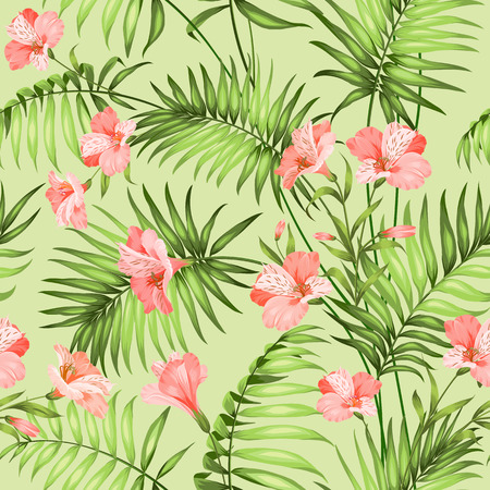 Seamless tropical pattern. Blossom flowers for seamless pattern background. Beautiful tropical flowers. Tropical flower garland isolated over green background. Vector illustration. Vectores