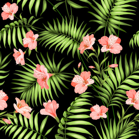 tropical: Seamless tropical pattern. Blossom flowers for seamless pattern background. Beautiful tropical flowers. Tropical flower garland isolated over black background. Vector illustration.