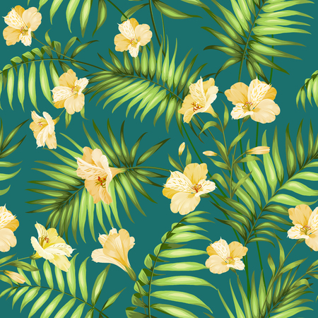 palm wreath: Seamless tropical pattern. Blossom flowers for seamless pattern background. Beautiful tropical flowers. Tropical flower garland isolated over blue background. Vector illustration.