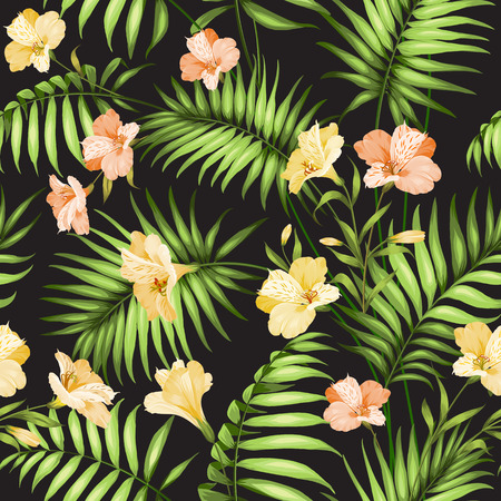 palm wreath: Seamless tropical pattern. Blossom flowers for seamless pattern background. Beautiful tropical flowers. Tropical flower garland isolated over black background. Vector illustration.