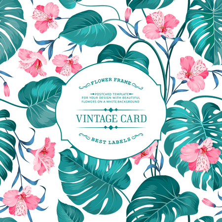 Spring flowers bouquet for vintage card. Card with template text and pattern on background. Border of flowers in vintage style. Texture of Alstroemeria flowers on vintage card. Vector illustration.