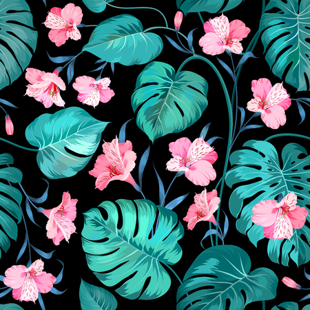 pink and black: Beautiful alstroemeria on seamless background. Topical palm leaves on seamless pattern. Topical palm leaves and beautiful alstroemeria on seamless background. Vector illustration. Illustration