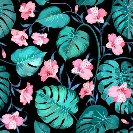 rosa negra: Hermosas alstroemeria en el fondo sin fisuras. Palma tópico deja en modelo inconsútil. Hojas de palma tópicos y hermosas alstroemeria en el fondo sin fisuras. Ilustración del vector.